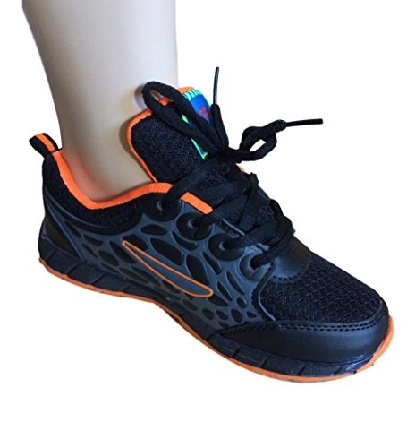 Boys Black & Orange Sporty Trainers