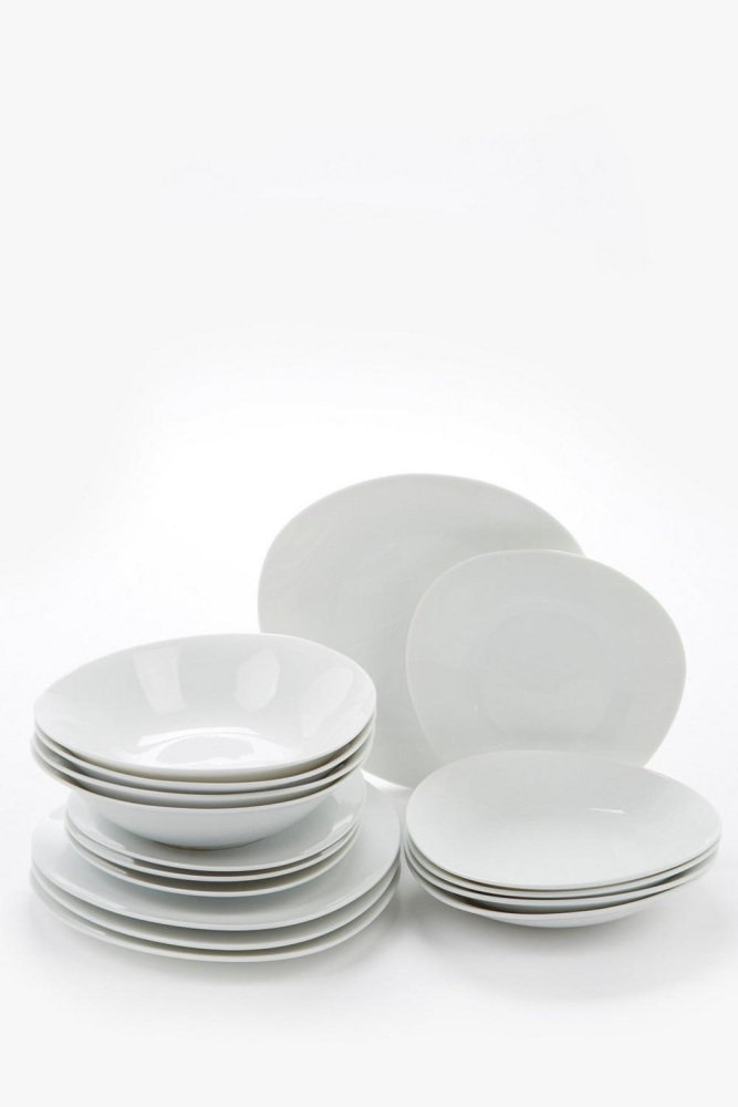 16+16-Piece White Oval Dinner Set