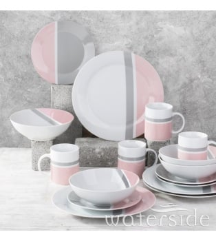 16-Piece Blush Pink/Dove Grey Dinner Set