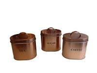 SECONDS 3 Piece Copper Coated Kitchen Oval Storage Set, some small marks or dents.