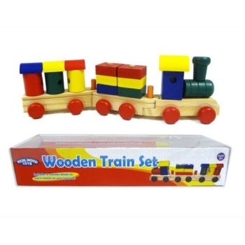 WOODEN TRAIN SET WITH TOY BLOCKS
