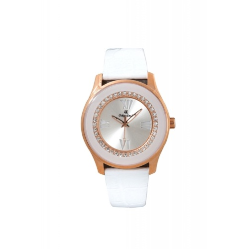 Oskar Emil Women Gold Plated Stone Silver Dial White Genuine Leather Strap