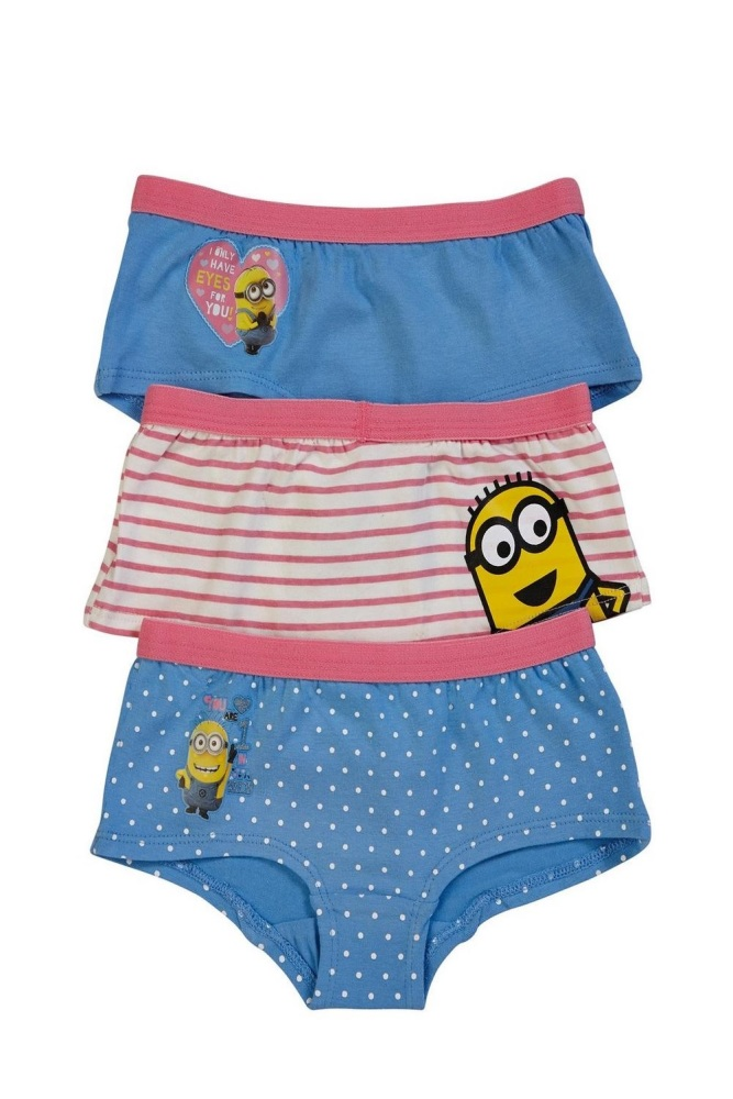 Girls Despicable Me Pack Of 3 Hipsters Briefs