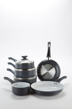 6-Piece Grey Ribbed Ceramic Non-Stick Pan Set