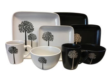 32 Piece Trees Square Stoneware Dinner Set