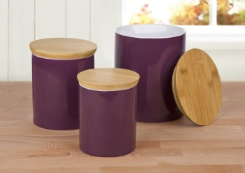 Set of 3 Aubergine Storage CANISTERS …