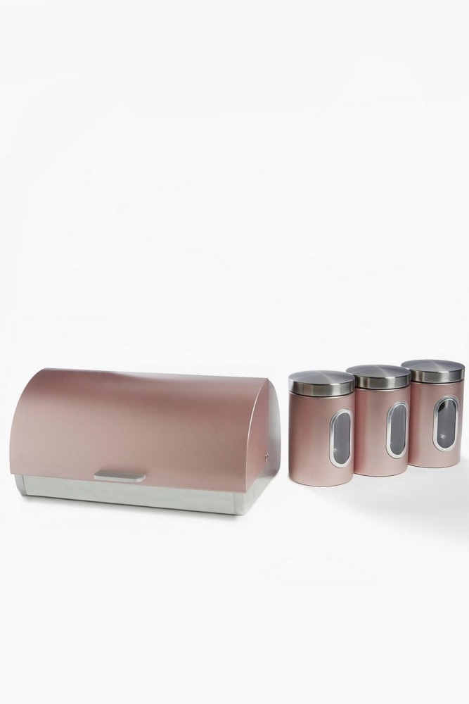 Pink Bread Bin and 3 Canisters