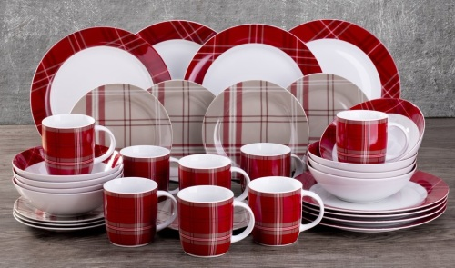 32-Piece Highland Red Tartan Dinner Set