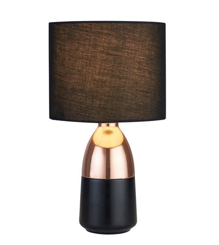 Touch Table Copper Lamp with Fabric Shade …