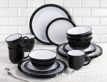 Camden 16 Piece Black Dinnerware Set with Mug, Service for 4