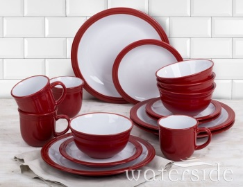 Camden 16 Piece Red Dinnerware Set with Mug, Service for 4