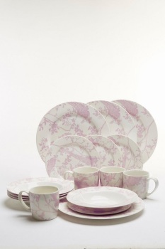 16-Piece Pink India Bone China Dinner Set