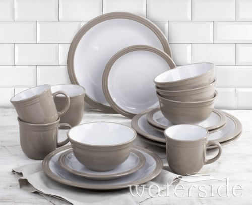 Camden 16 Piece Taupe Dinnerware Set with Mug, Service for 4