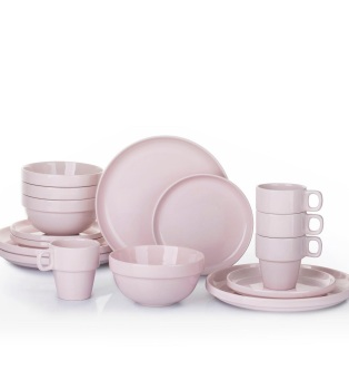 Pink 16-Piece Stacking Dinner Set