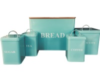 5 Piece Country Duck Egg/Blue Square Storage Set with Chopping Board.