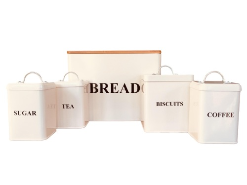 5 Piece Country Cream Square Storage Set with Chopping Board.