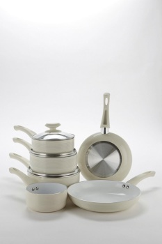 6-Piece Cream Ribbed Ceramic Non-Stick Pan Set