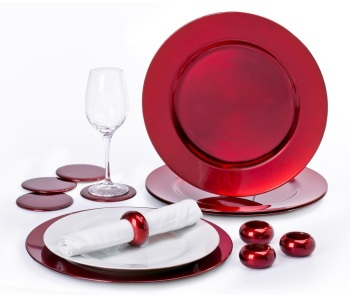 12 Piece RED Charger Plate Set