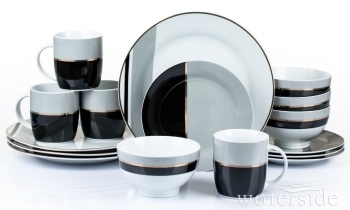16PC Black/Grey/Gold Dinner Set