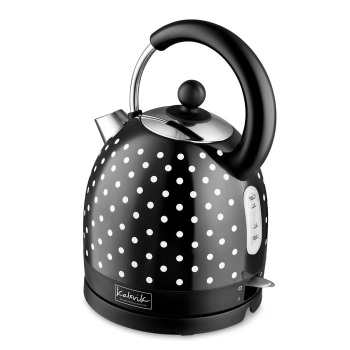 Black 1.7 L Stainless Steel Electric Kettle with Spots
