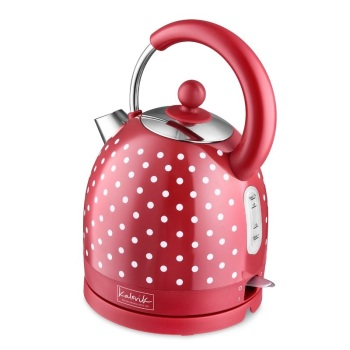 Red 1.7 L Stainless Steel Electric Kettle with Spots