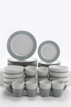 16+16-Piece Grey and White Stoneware Dinner Set