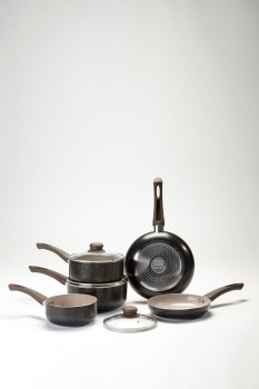 5-Piece Stone Effect Brown Pan Set