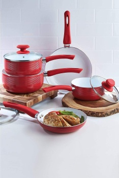 E.G.L 5-Piece Red Aluminium Ribbed Pan Set