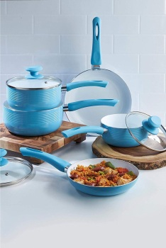 E.G.L 5-Piece Dug-Egg Blue Aluminium Ribbed Pan Set