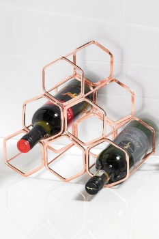 Copper Plated 6 Bottle Wine Rack