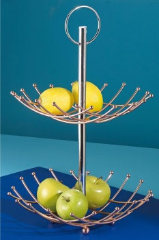 Copper Plated 2-Tier Fruit Bowl