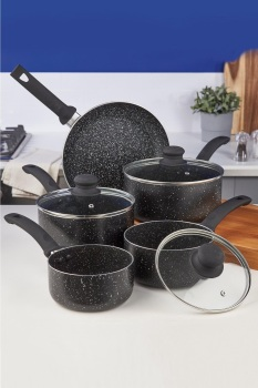 5pc Black Marble Pan Set