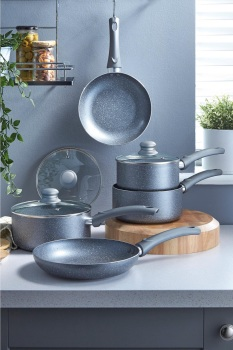 5-Piece Non-Stick Marble-Effect Pan Set