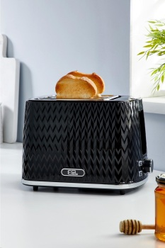 Chevron Black 2-Slice Toaster