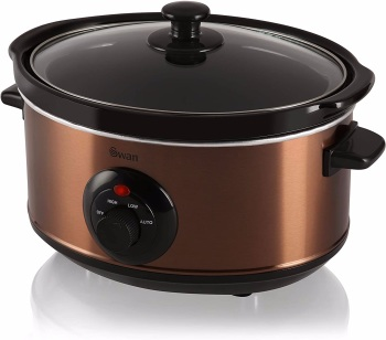 Swan 3.5 Litre Oval Copper Slow Cooker, 3 Cooking Settings, 200W, Removable Crock Pot