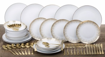 56 PIECE DINNER AND CUTLERY SET GOLD SPARKLE