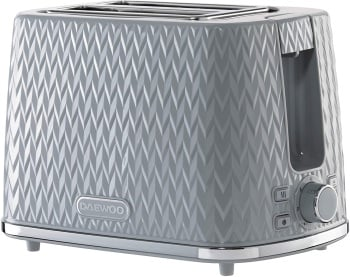 Daewoo Argyle 2 Slice Patterned Toaster Grey