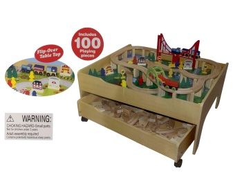 Reversible Train Table And 100-Piece Wooden Train Set