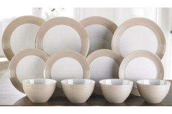 12-Piece Ribbed Dinner Set In Cappucino