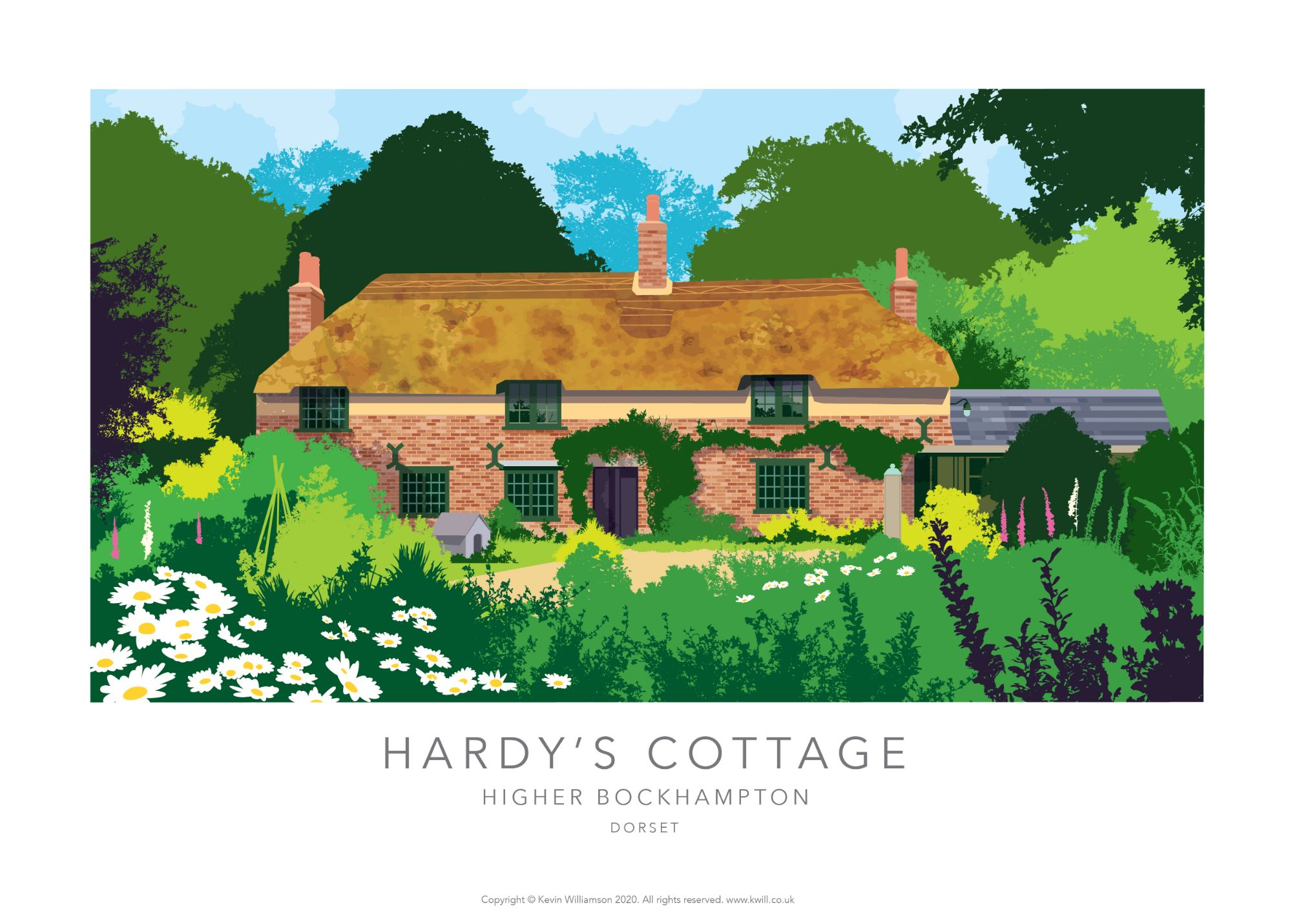 Dorset print. Illustration of HArdy'd Cottage