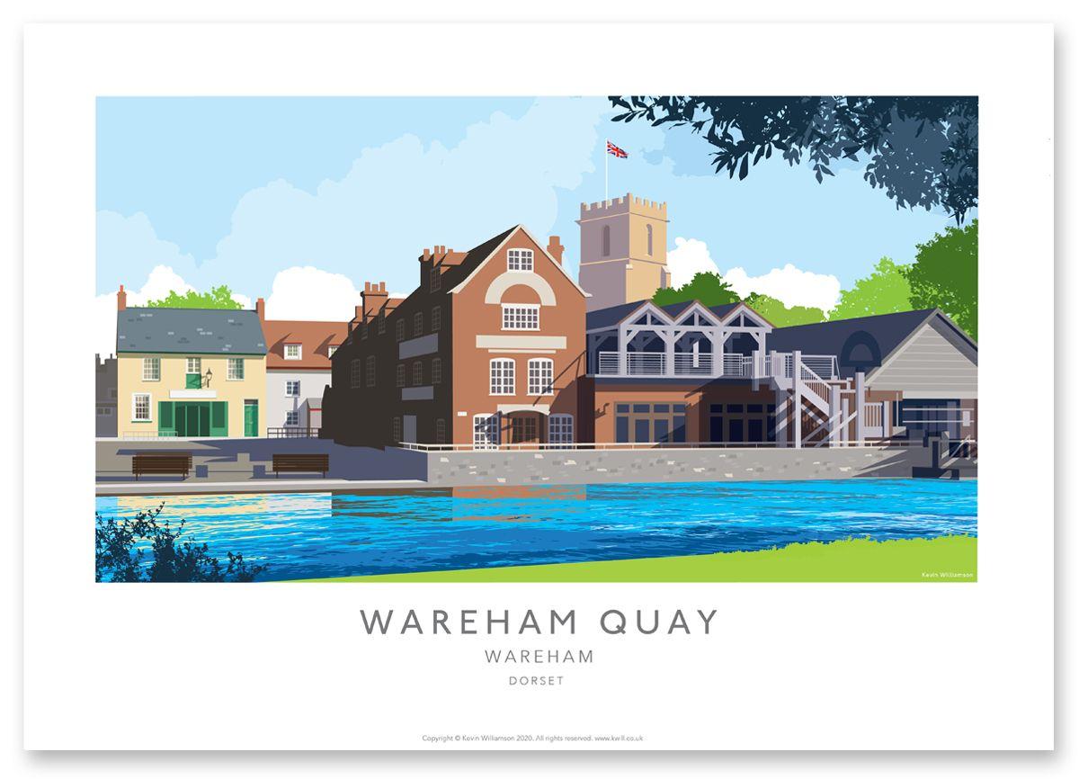Illustration of Wareham Quay Dorset Print