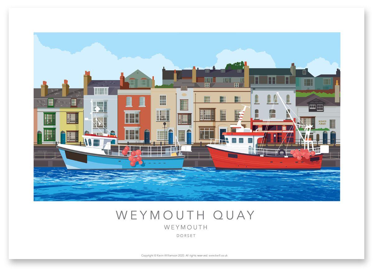 Dorset Print, illustration of Weymouth Quay