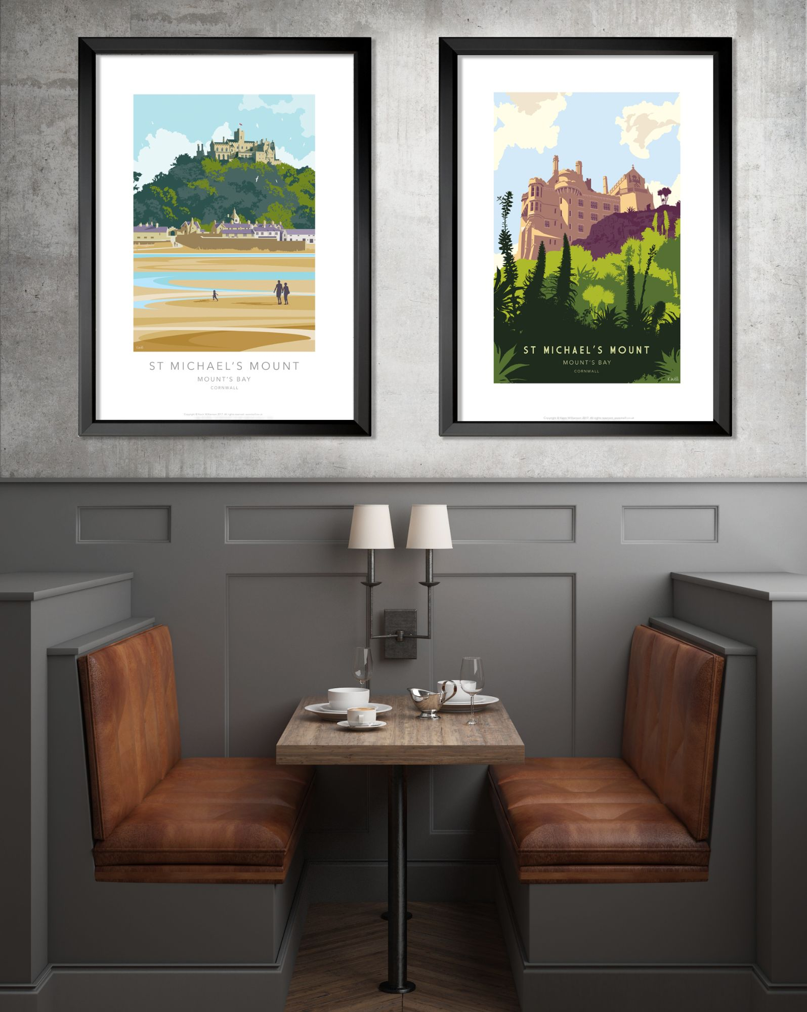 Illustrated prints of St Michael's Mount