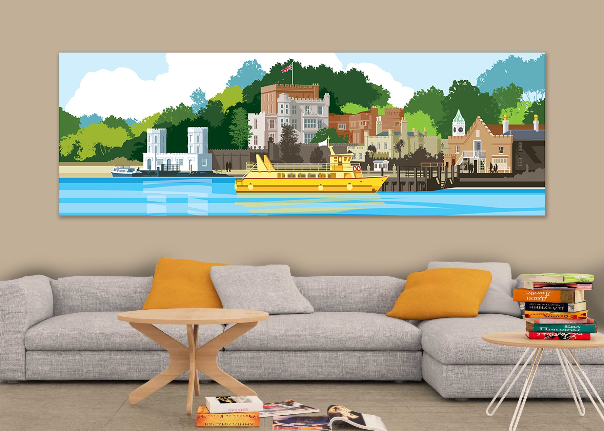 Brownsea Island illustrated canvas Dorset print