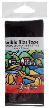 ER519.BLACK Iron-On Fusible Bias Tape in Black 6mm x 5m
