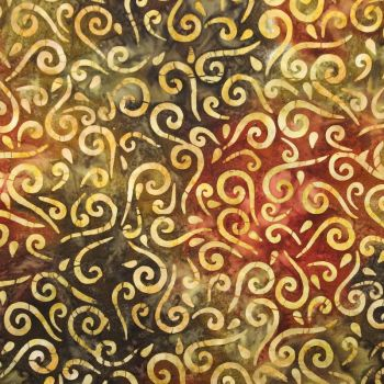14085 Batik Prints swirls on reds and yellows