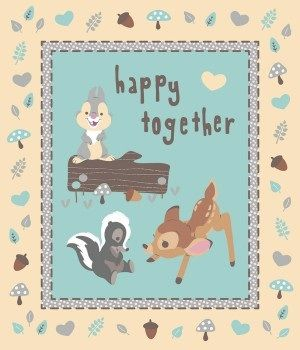 55608 Happy Together Cute Characters on Blue