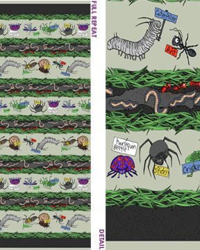 5546-11 Benartex Crawly Critters by Kanvas 5546 11 Grey Critter Stripe