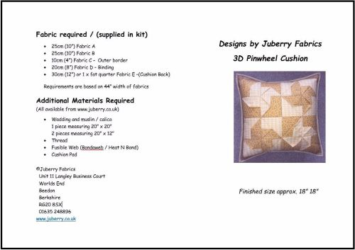 JUB3DPWC - The 3D Pinwheel Cushion Pattern from Juberry Fabrics