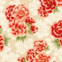 SRKM-16753-3 Floral Red on Cream
